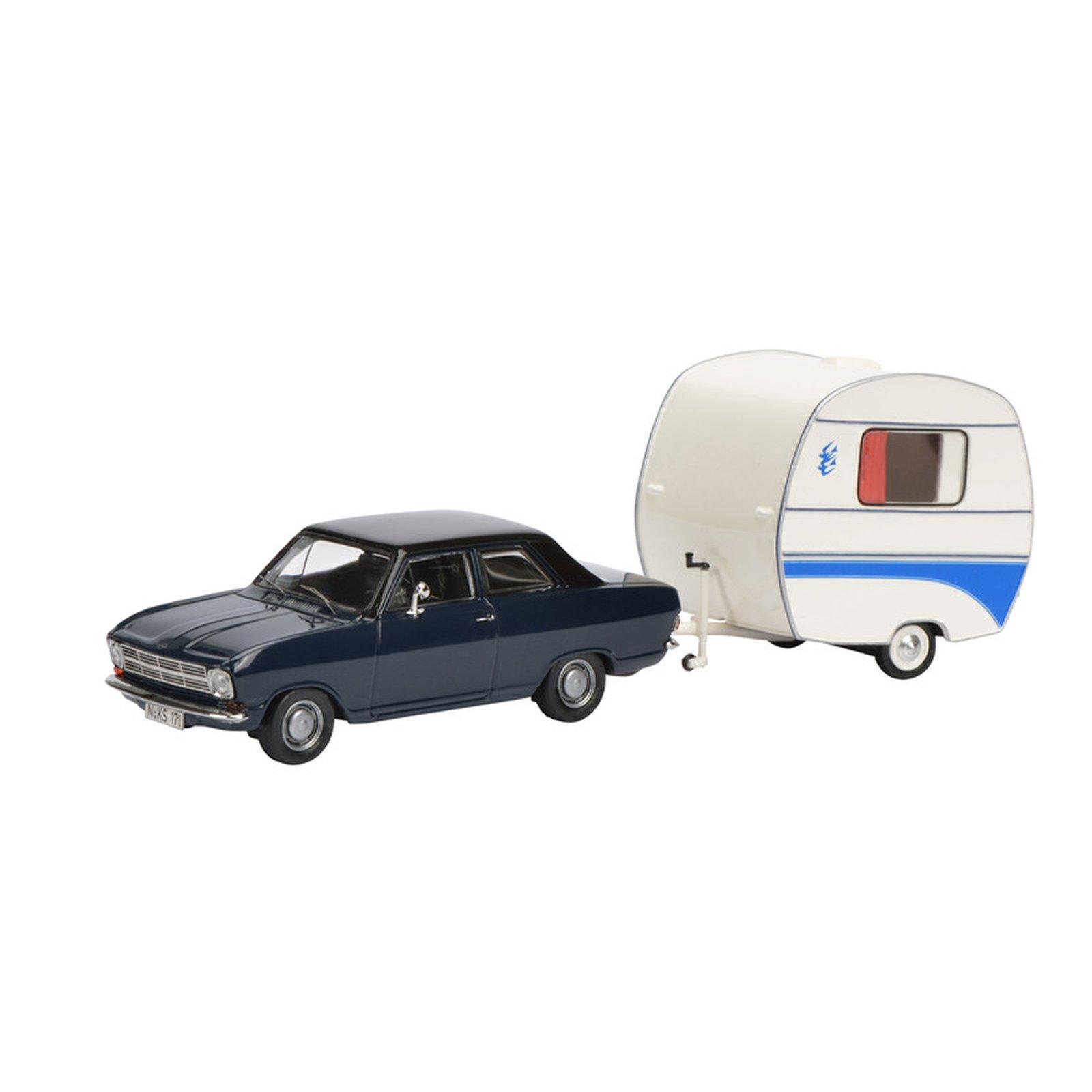 schuco 450294700 opel kadett b mit anh nger massstab 1 43. Black Bedroom Furniture Sets. Home Design Ideas