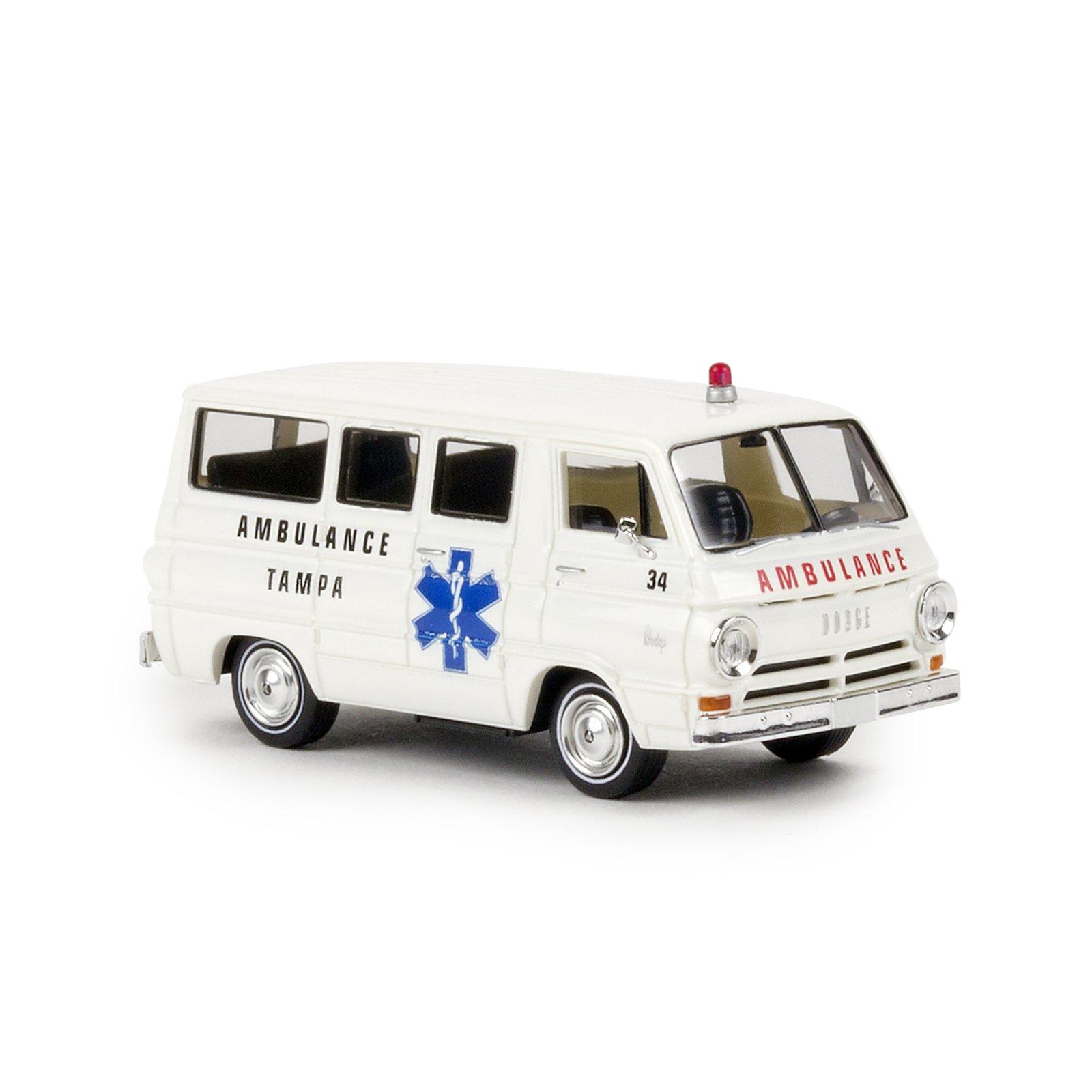 brekina 34323 dodge a 100 bus tampa ambulance usa. Black Bedroom Furniture Sets. Home Design Ideas